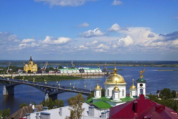 Kanavinsky bridge and Junction of Oka river with Volga